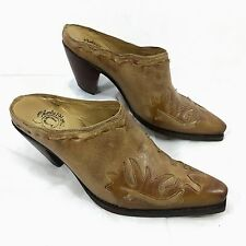 Women's Charlie 1 Horse Lucchese Western Mules Brown leather overlay Sz 7 B