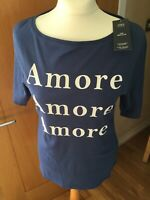 Ladies M&S Regular Half Sleeve Boat Neck Amore Cotton Top Indigo Size 14 BNWTS