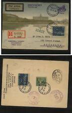 Sweden   nice  flight  card   to   US     1930  registered             MS1201