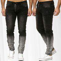 Pantalon en jean pour homme Détruit Biker Gradient Ombré Denim Gris Foncé Clair
