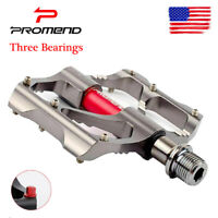 PROMEND MTB Bike Pedal 3 Bearings Ultralight Non-slip Chrome 9/16 in Pair Pedals