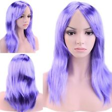 """19"""" Part Costume Wig Curly Full Bang Wig Halloween Anime Cosplay Blue Purple th"""