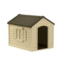Dog House Plastic Removable Roof Lid Vinyl Doors Weather Resistant Resin Sand