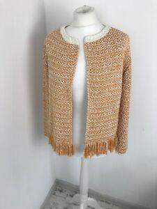 Rich&Royal Italy Blazer Knit Cardigan Jacket Sparky Tassels mustard yellow  M 12