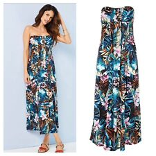 Kaleidoscope Size 16 18 Floral Print Bandeau Strapless Maxi DRESS Holiday £35