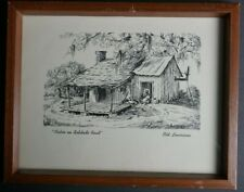 "Louise Sarrazin Pen & Ink Print, ""Cabin on Solitude Road""  Wood Framed 11x9"