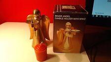 "Christmas Angel Brass Copper Candle Holder 6 1/4"" original box unused"