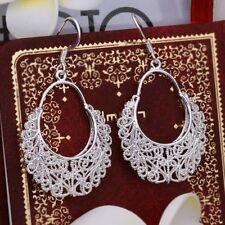 Elegant 925 Stamped Sterling Silver Filled Woman Filigree Dangle Earrings E608