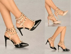 LADIES STRAPPY STUD DETAIL HIGH HEEL POINTED TOE OPEN BACK SHOES SIZES 3-8