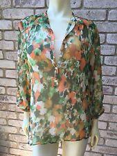Coldwater Creek Women's Shirt Floral Flutter Crinkle Button Front 2pc Sz 10 - 12