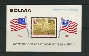 F811 Bolivie 1966 Flags US Du Bicentenaire Feuille MNH