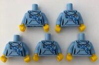 LEGO 5 x Torsos Bright Light Blue Female Girl Hoodie Minifigure Torso Bundle