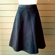 BROOKS BROTHERS BLACK JACQUARD FLORAL A-LINE Knee Length SKIRT Sz 2 NEW $129
