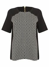 Ex Marks And Spencers Black White Short Sleeve Back Zip Top Blouse Size 10-22