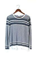 Vince Womens Size Medium Blue White Pullover Sweater Cotton Blend Striped Shirt