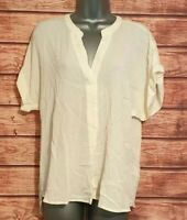 Ladies Top H&M Size 10 IVORY Summer CRINKLE Blouse/Shirt Women's VGC Casual