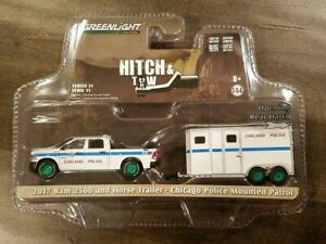 GREENLIGHT 1/64 2017 DODGE RAM 2500 & HORSE TRAILER CHICAGO POLICE 32110-D CHASE