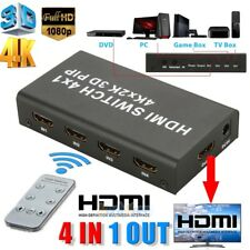 4 Port 4x1 HDMI Switch Box 4K 3D 1080P PIP Switcher IR Remote Control Selector