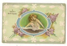 VINTAGE BIRTHDAY GREETINGS POSTCARD PRETTY LITTLE GIRL PURPLE LILACS FLOWERS
