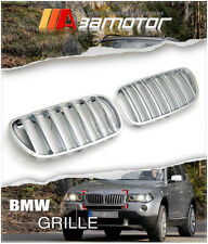 CHROME FRONT HOOD KIDNEY GRILL GRILLES SET for 2007-2010 BMW X3 FACELIFT E83 LCI