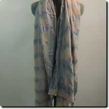 Large Dusty Rose and Blue Silky Wrap Shawl Scarf 90 x 36