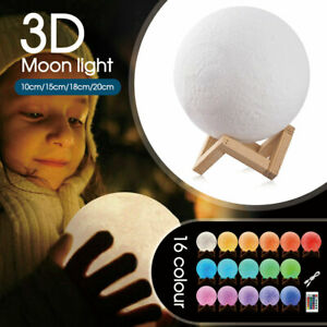 Dimmable 3D Lunar Moon Lamp Moonlight LED Night Light Touch Pat Remote 10-20cm