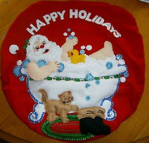 "Finished/completed Bucilla""Splish Splash Santa""  Bath Christmas Felt Applique"