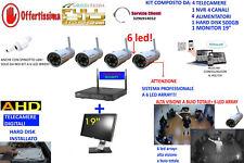 "KIT VIDEOSORVEGLIANZA WIFI WIRELESS IP HD 4 TELECAMERE 6 LED 500GB MONITOR 19"""