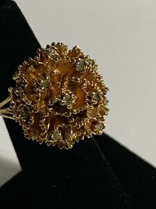 PANETTA Signed Gold Tone/Rhinestone Cocktail Ring Size 5