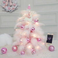 Mini Christmas Tree Pink Feather Xmas Decoration Cedar Desktop Tabletop Ornament