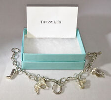 Rare Tiffany & Co. 5 Charm Silver Equestrian Dangle Bracelet Bangle