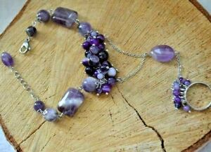 Slave Bracelet Gemstone Amethyst & Agate Natural Europe Design Women Ceremony