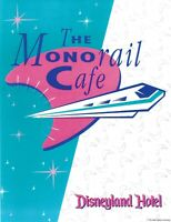 MONORAIL CAFÉ MENU, FORMERLY IN THE DISNEYLAND HOTEL, A REPRINY WITH 4 VIEWS
