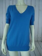 ANN TAYLOR Sweater M Royal Blue Merino Wool Nylon Poly Knit V-Neck Front Back
