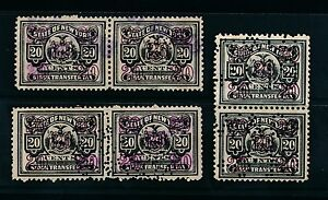 NEW YORK STATE 1920s STOCK TRANSFER STAMPS with BROKERS PERFINS...3 PAIRS