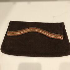 Vintage 70's Women's Purse Brown Suede Clutch Metallic Trim