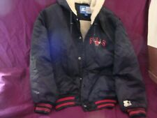 Vintage Chicago Bulls Hooded Starter Jacket Mens M  Snaps Black Red 90's
