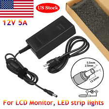 12 Volt 5 Amp (12V 5A) 60W AC Adapter Charger Power Supply Cord FOR LCD Monitors