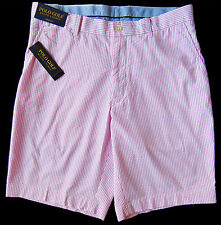 Men's POLO GOLF RALPH LAUREN Pink White Seersucker Shorts 38 NWT NEW Links Fit