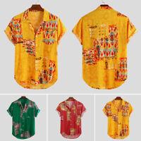 Mens Casual Hawaiian Short Sleeve Shirt Floral Print Summer Beach Blouse T-shirt