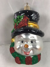 Snowman Ornament Glass Snowman Head w Stovepipe Hat Old World Christmas 24087