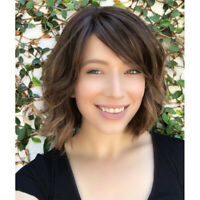 Women Short Wig Brown Curly Wavy Synthetic Hair Bangs Full Wigs Cosplay Costumes