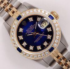 Rolex Lady Datejust 26mm Two Tone 18k Sapphire Diamond Bezel-Blue Vignette Dial