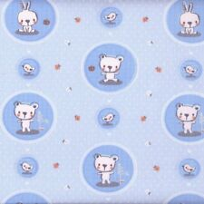 Textiles français Teddy & Rabbit Blue Children's fabric 100% Cotton 160 cm wide