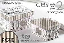SET 2 CESTE RETTANGOLI IN VIMINI CON COPERCHIO  PORTA BIANCHERIA HEZ-714146