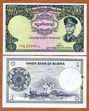 Myanmar / Burma 1 Kyat ND (1958), P-46, aUNC, General San