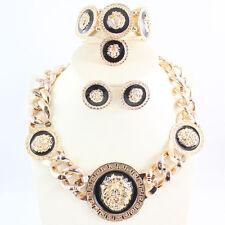 Fashion Black Enamel Lion Pendant Necklace Earring Bangle Ring Party Jewelry Set