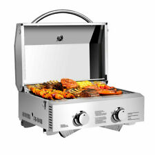 Outdoor 2 Burner BBQ Tabletop Propane Gas Grill Stainless Steel Table Top Grill