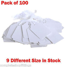 100 X Quality White Strung Ticket Tags Labels Retail Clothing Gift Sticker 27x18mm(c-22)