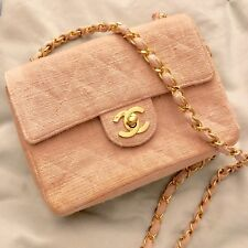 7151a1acd597 Auth Chanel Tweed   Leather Mini Square Flap Bag pink